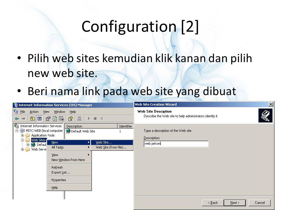 Configuration [2] Pilih web sites kemudian klik kanan dan pilih new web site.